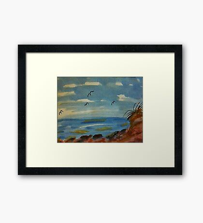 Lets sit on the rocks and enjoy the ocean, watercolor Framed Print