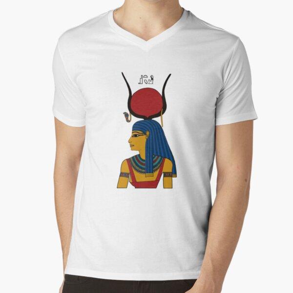 ASET I Göttin Ägypten T-Shirt mit V-Ausschnitt