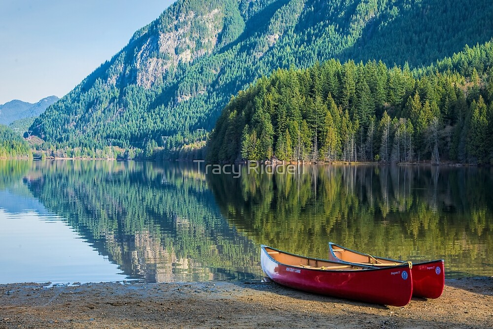 Canoes on a Reflective Autumn Day by Tracy Riddell