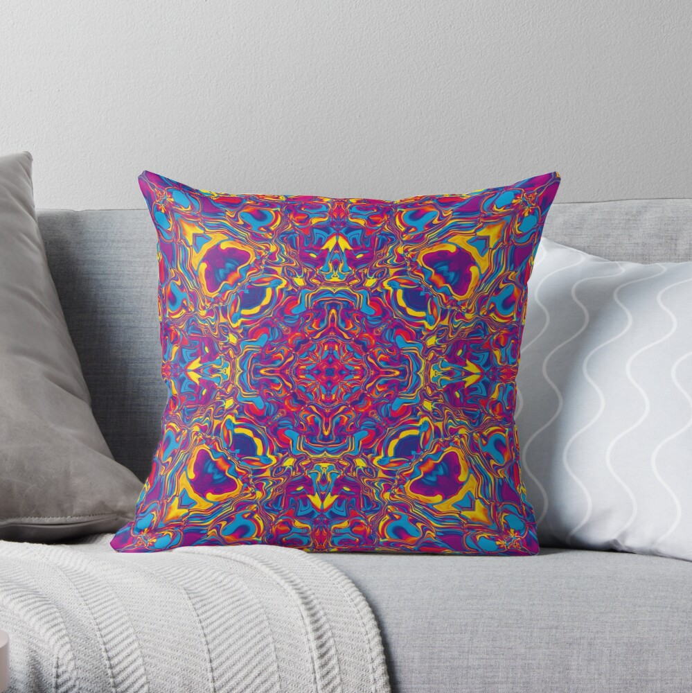 Liquefied Flow IV - CMY Throw Pillow