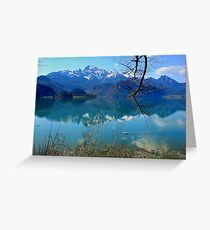 Blue Lake and Swan Greeting Card