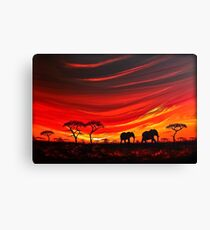 Two Elephants on the Horizon Canvas Print
