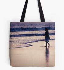 person on the beach in Los Angeles Tote Bag