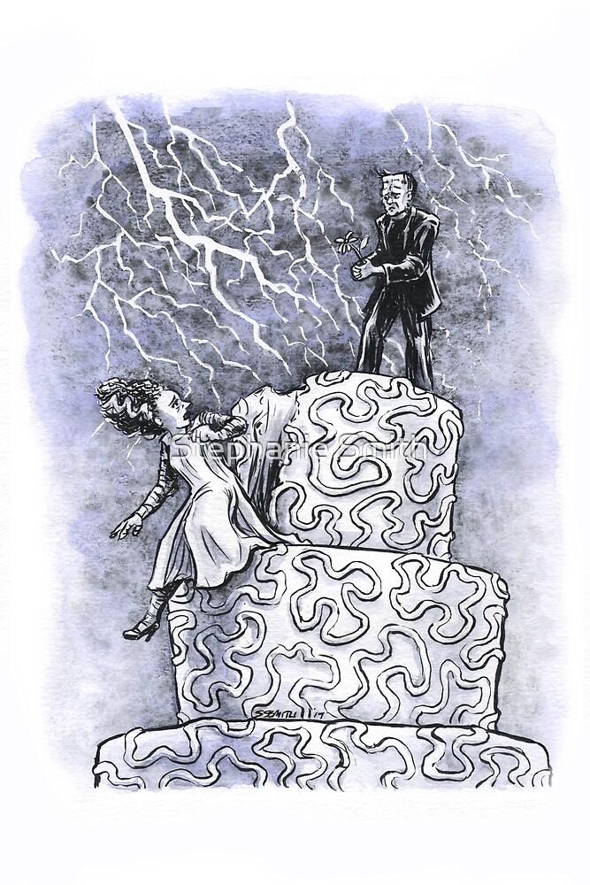 The Wedding is Off: Frankenstein Wedding Cake Disaster Artwork by Stephanie Smith