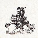 Tiny Witch on Her Way to Adventure Fantasy Artwork by Stephanie Smith