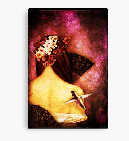Girl With Hummingbird Canvas Print