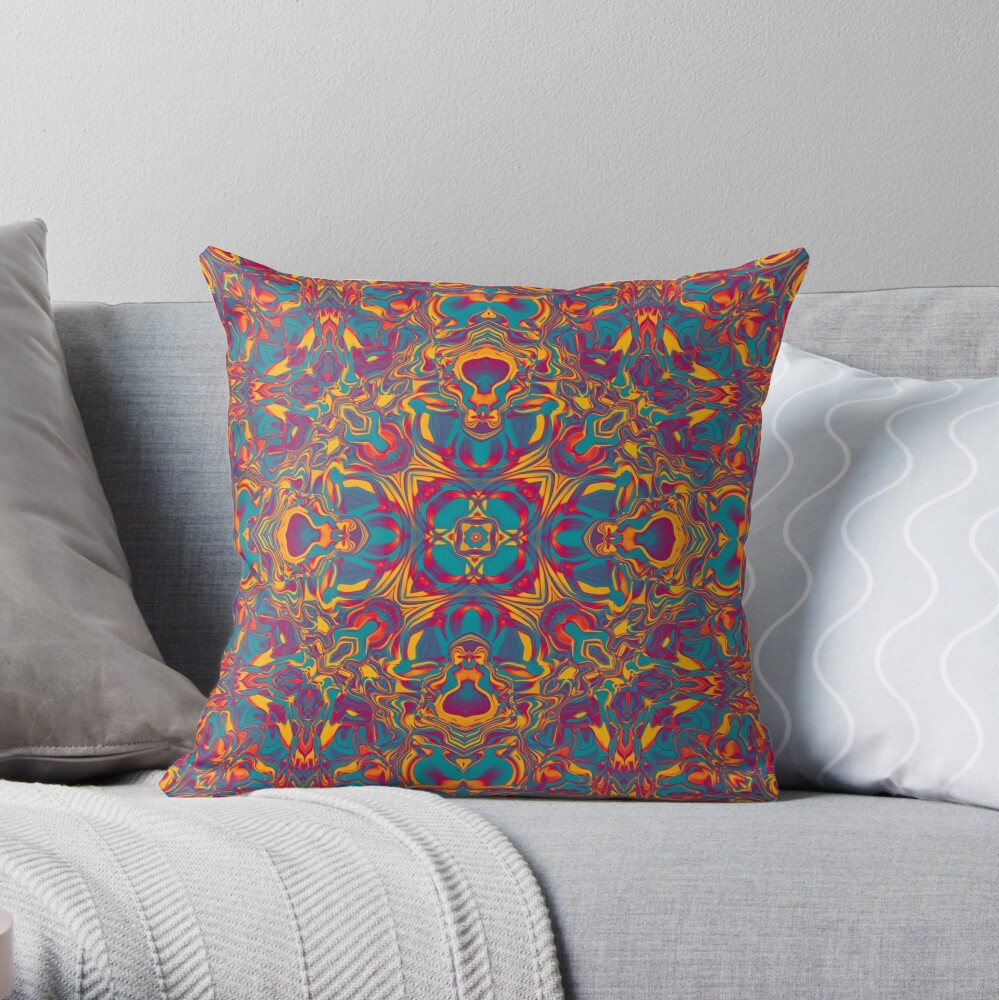 Liquefied Flow V - Chilli Throw Pillow