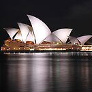 Sydney Oprahouse under lights by Alwyn Simple