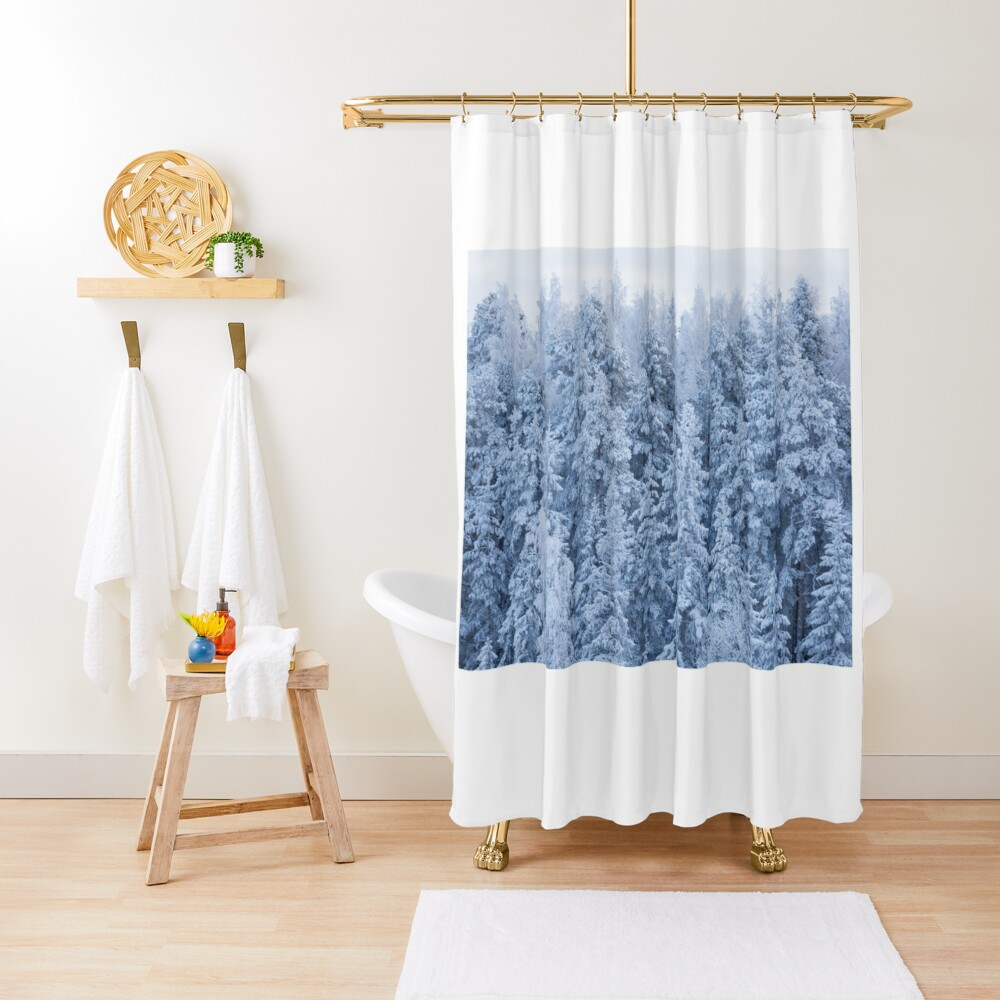 Trees covered in snow Shower Curtain