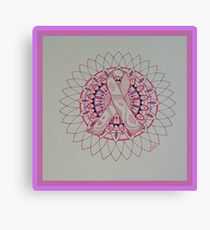Breast Cancer Ribbon Mandala Canvas Print