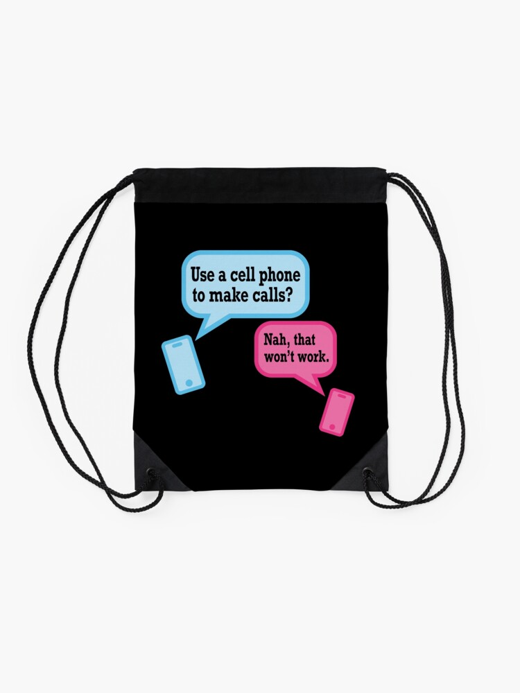 Alternate view of Teens and Phones. Humor for Gen Y and Gen Z. Drawstring Bag