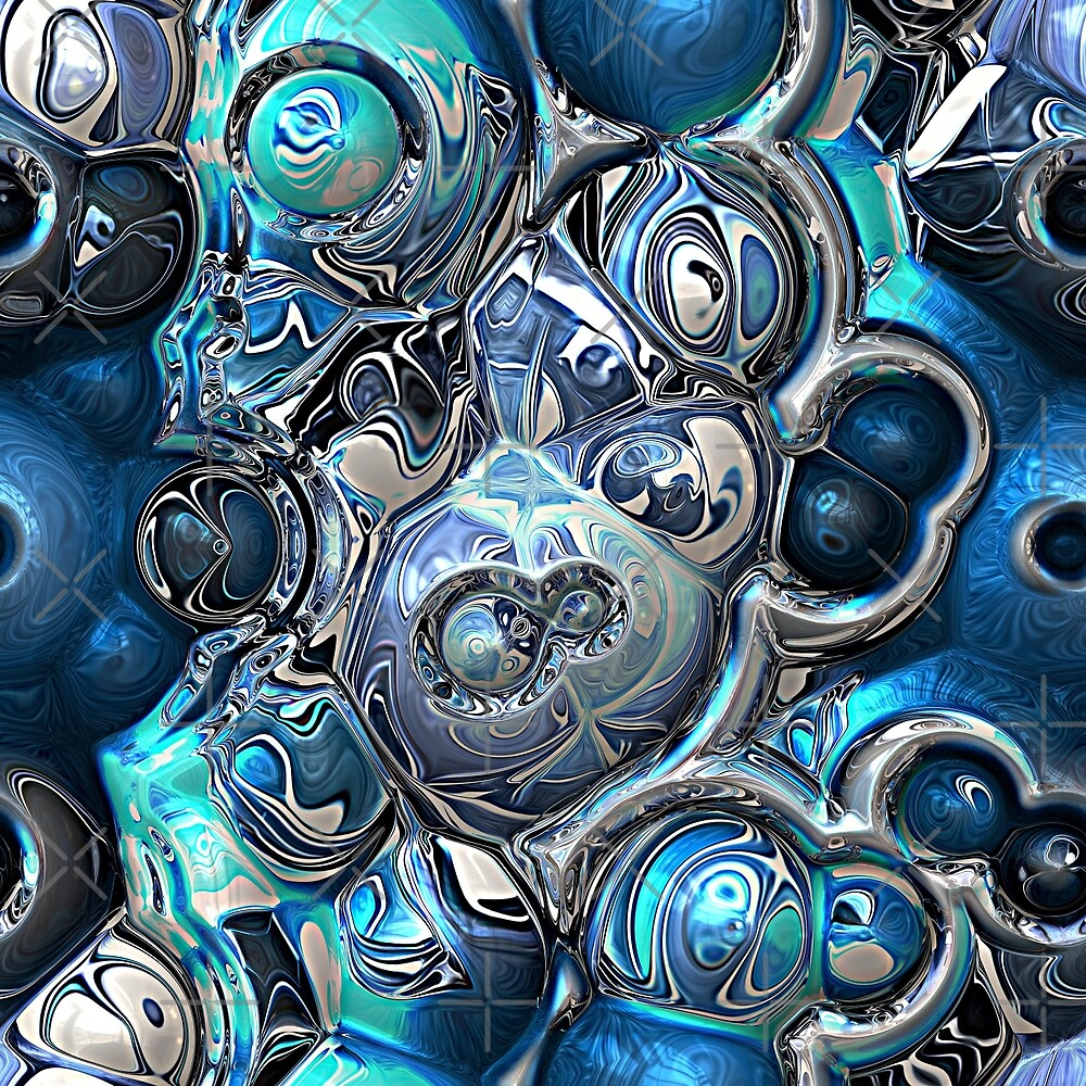 Chaotic Blue Spheres Pattern by Phil Perkins