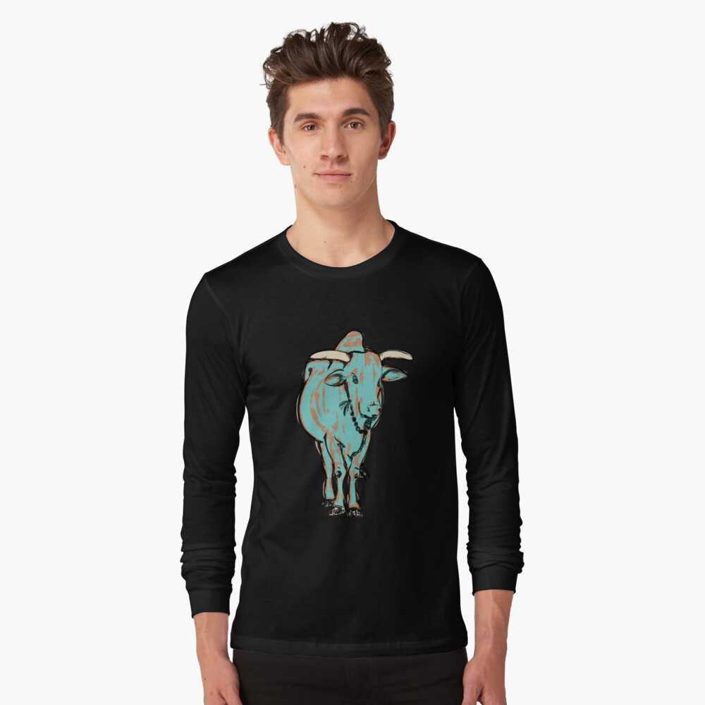 An Illustration of a young bull, Rishikesh, India Long Sleeve T-Shirt