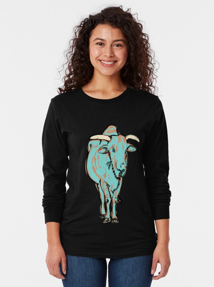 Alternate view of An Illustration of a young bull, Rishikesh, India Long Sleeve T-Shirt