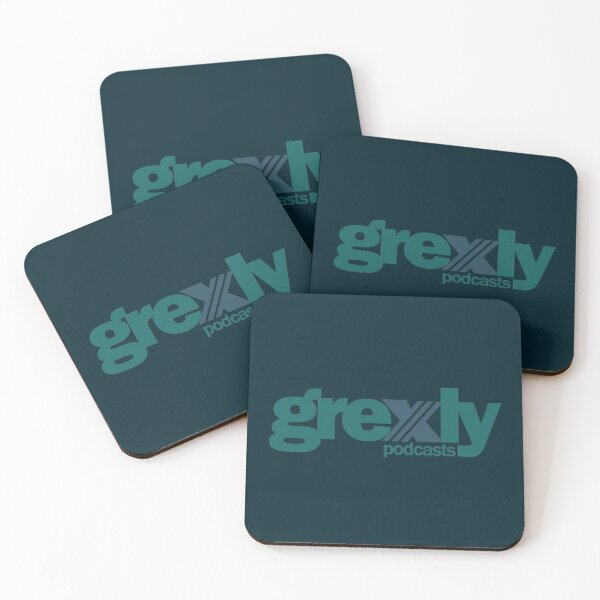 Grexly Podcasts (Blue/Green/Mint) Coasters (Set of 4)