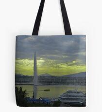 Geneva Cityscape  Jet d'Eau Tote Bag