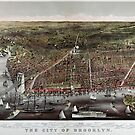 Brooklyn map Birds Eye View vintage 1879 by Glimmersmith