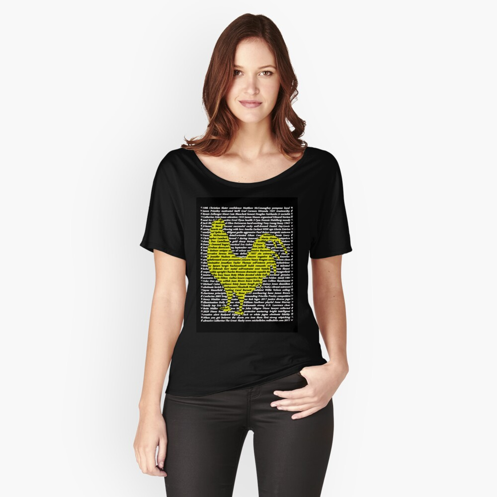 """'The Year Of The Rooster / Cockerel"""" Clothing Women's Relaxed Fit T-Shirt Front"""