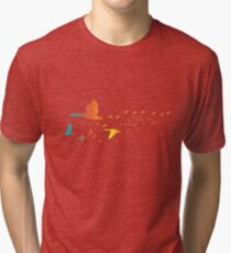 Colored spring birds geese ducks cranes Tri-blend T-Shirt