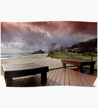 Stormy morning at Currumbin Beach Poster
