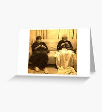 Two ladies knitting Greeting Card