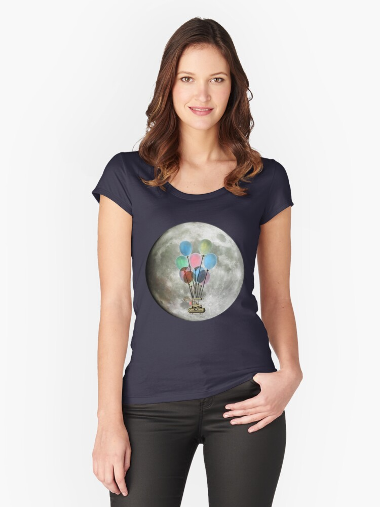 Steampunk Flying Machine Women's Fitted Scoop T-Shirt Front