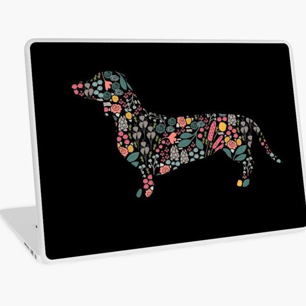 Dachshund Floral Watercolor Art Laptop Skin