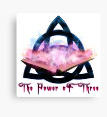 The Power oF Three Neon Magic Book B Canvas Print