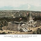 19th century bird's eye view of Washington by Kathleen  Cole