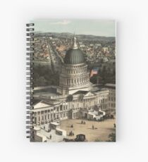 19th century bird's eye view of Washington Spiral Notebook