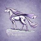 February Birthstone Unicorn: Amethyst Fantasy Art by Stephanie Smith