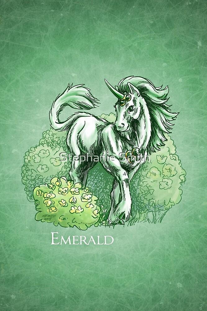 May Birthstone Unicorn: Emerald Gemstone Fantasy Art by Stephanie Smith