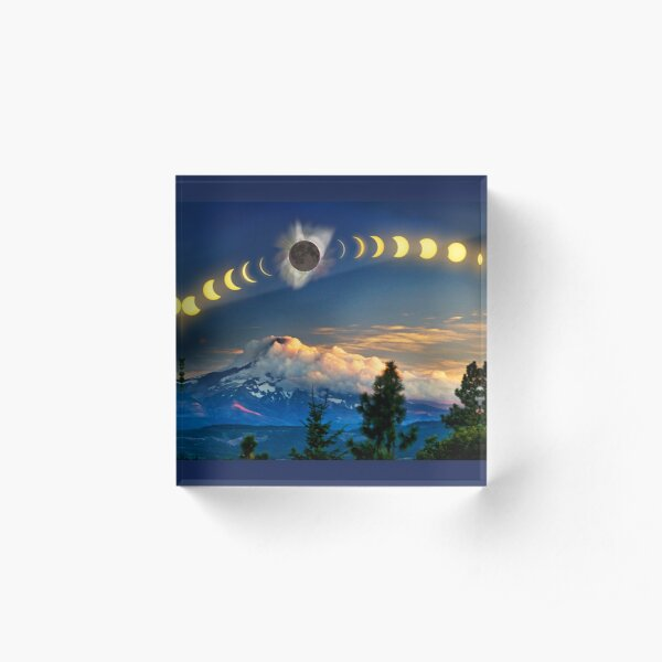 Solar Eclipse of Aug 21, 2017 as visualized above Mt. Hood Acrylic Block