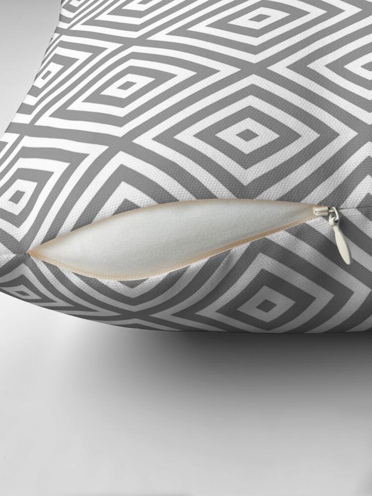 Alternate view of Diamonds - White on Grey for Neutral Decors Throw Pillow