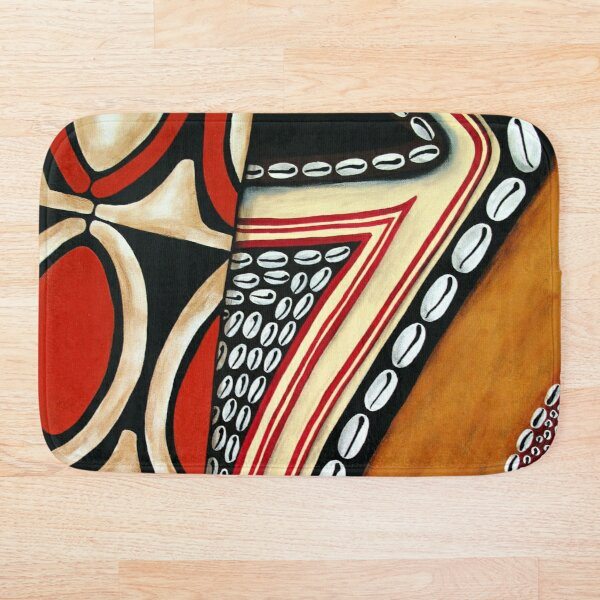 #396 - NATHALIE LE RICHE - ART and GIFTS - TRIBAL MASK SHIELD ABSTRACT PNG - A Segments Of Life I  Bath Mat