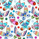 Jewel Tone Watercolor Butterflies  by TigaTiga
