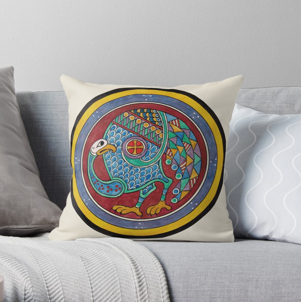 Book of Kells Celtic peacock Throw Pillow
