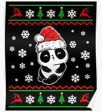 Christmas Santa Panda Bear Sweater Cute Christmas Panda Poster