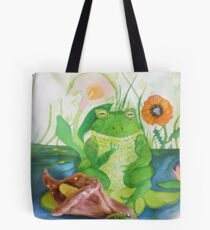 wee frog with calla lily sculpture Tote Bag