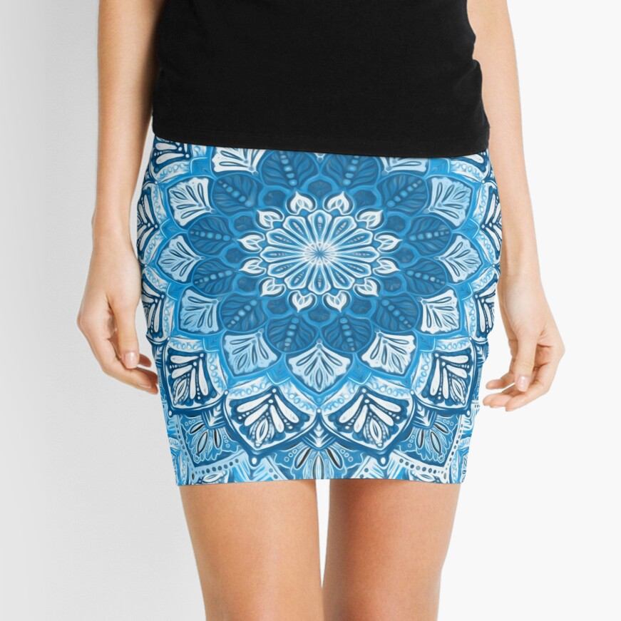 Boho Mandala in Monochrome Blue and White Mini Skirt