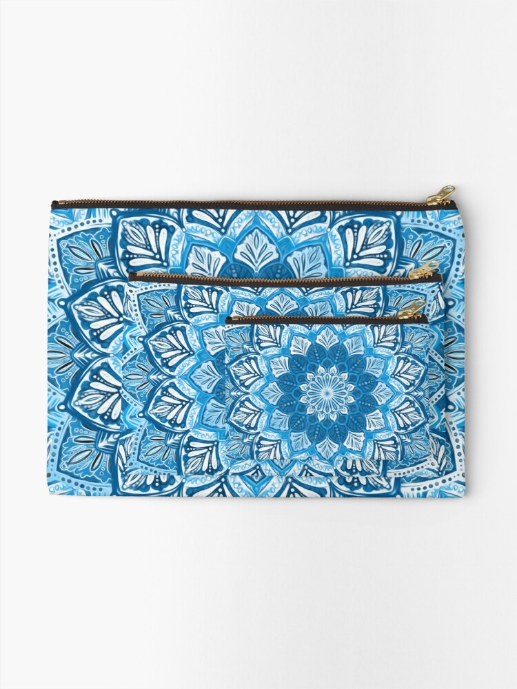 Alternate view of Boho Mandala in Monochrome Blue and White Zipper Pouch