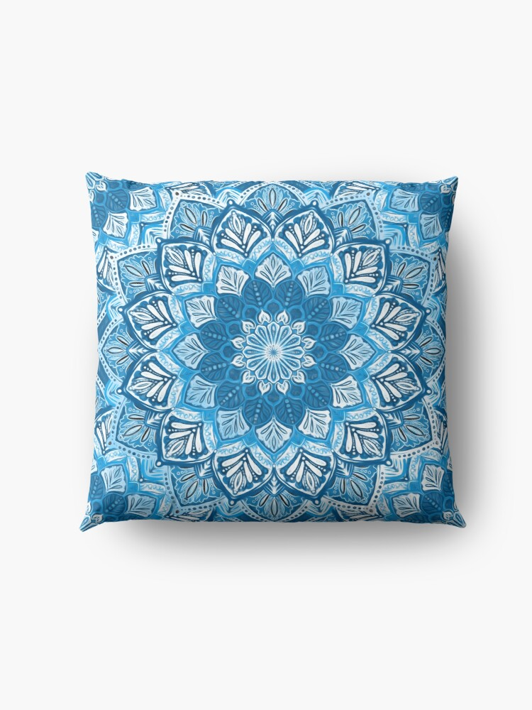 Alternate view of Boho Mandala in Monochrome Blue and White Floor Pillow
