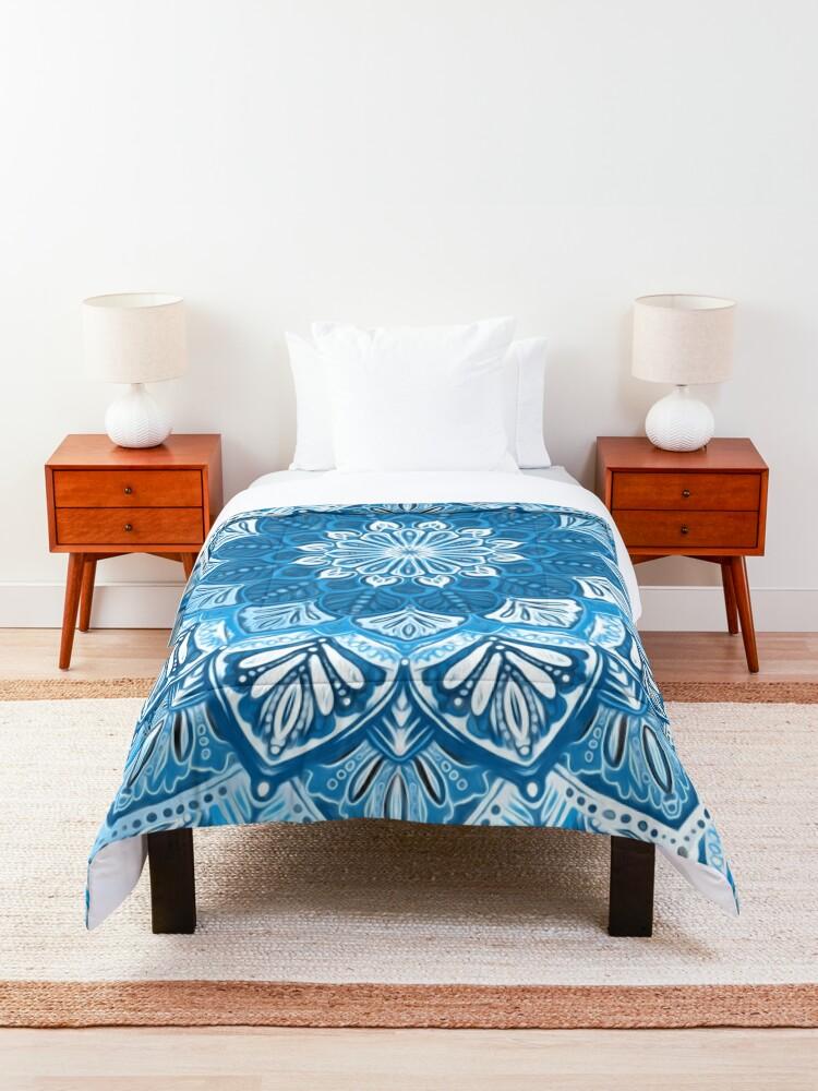 Alternate view of Boho Mandala in Monochrome Blue and White Comforter