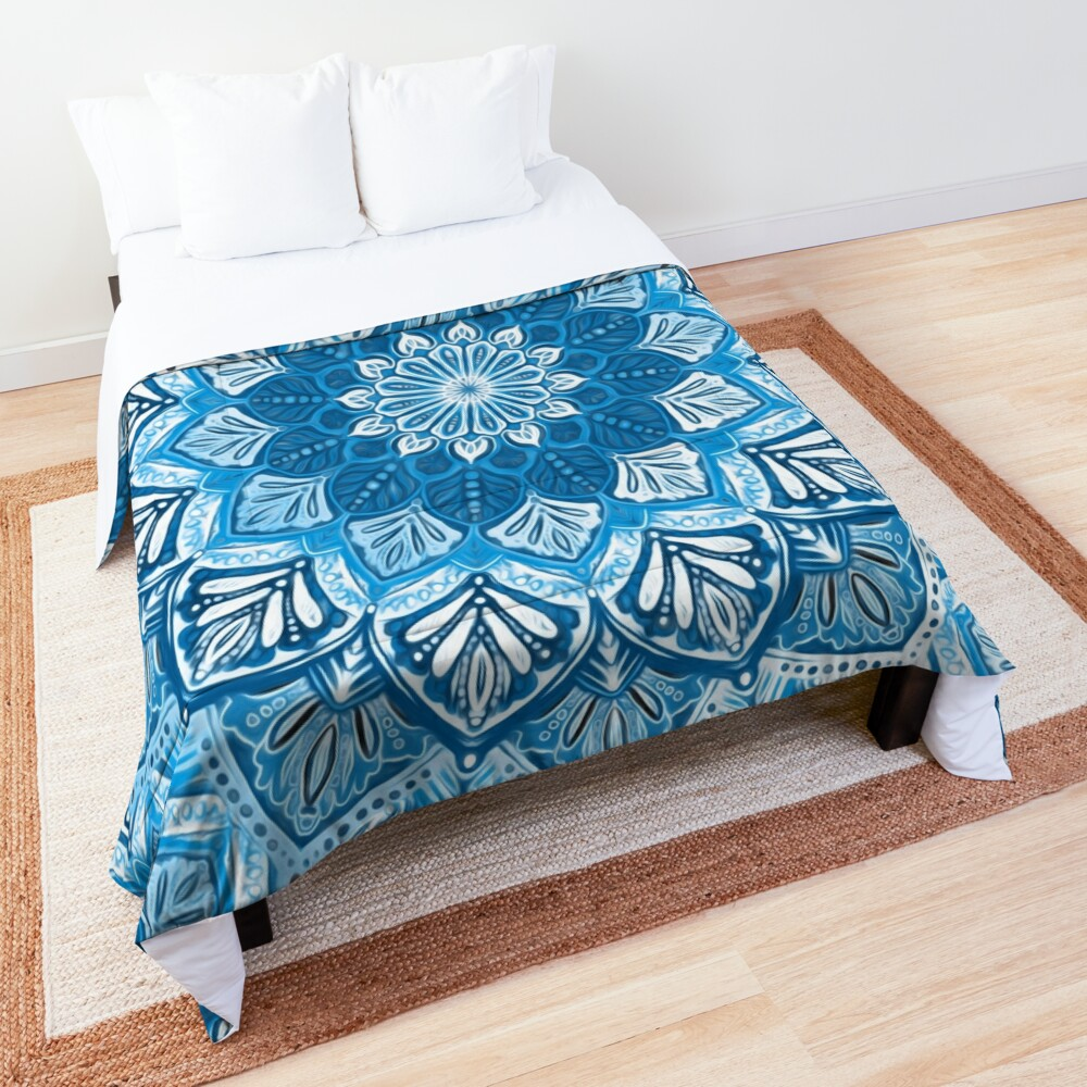 Boho Mandala in Monochrome Blue and White Comforter