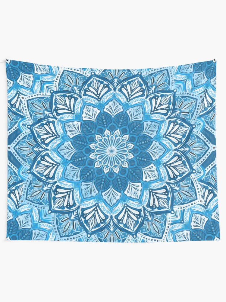 Alternate view of Boho Mandala in Monochrome Blue and White Tapestry