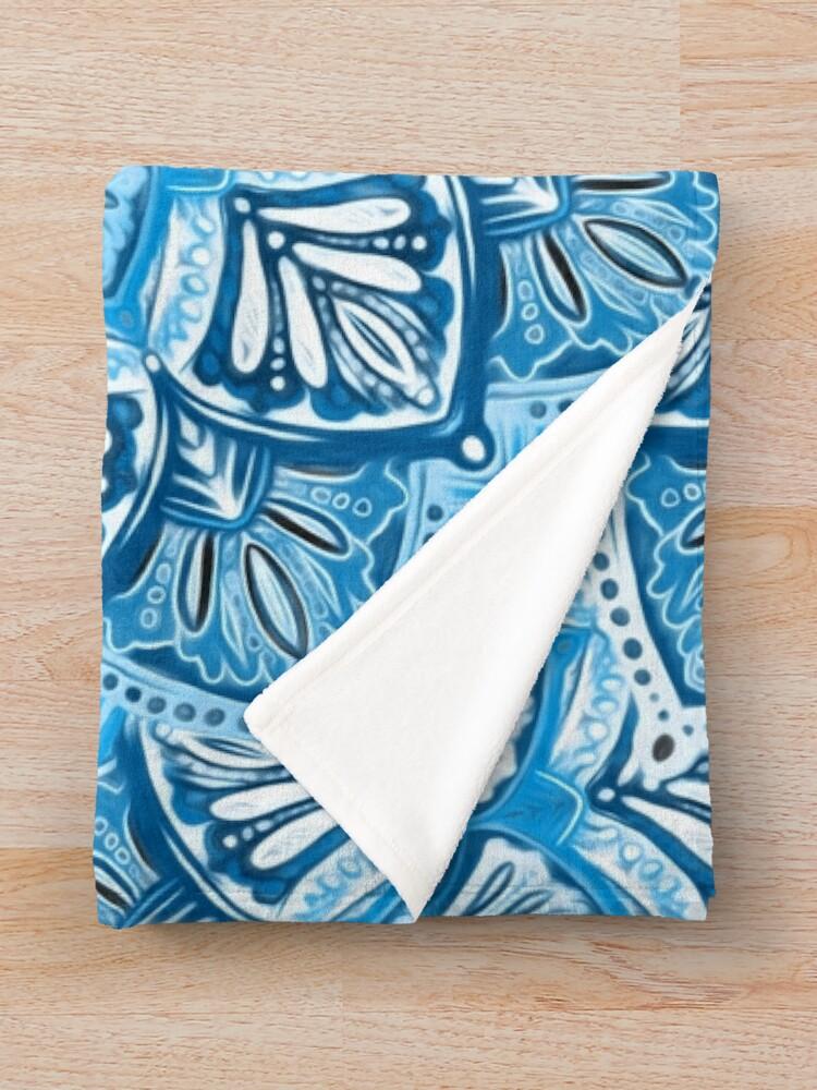 Alternate view of Boho Mandala in Monochrome Blue and White Throw Blanket