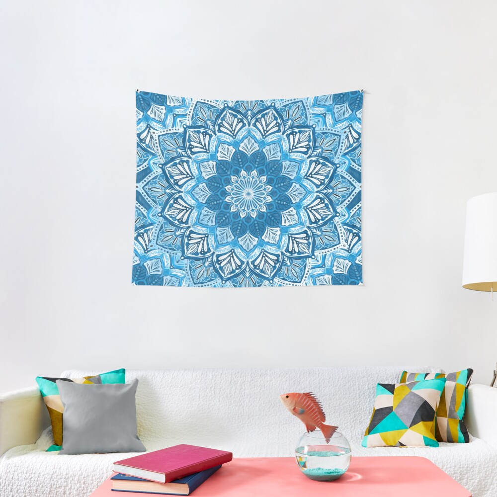 Boho Mandala in Monochrome Blue and White Tapestry