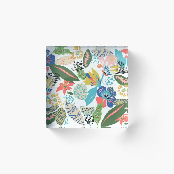Funky floral Acrylic Block