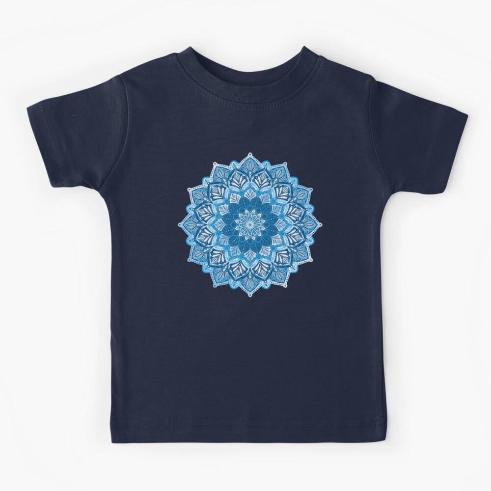 Boho Mandala in Monochrome Blue and White Kids T-Shirt