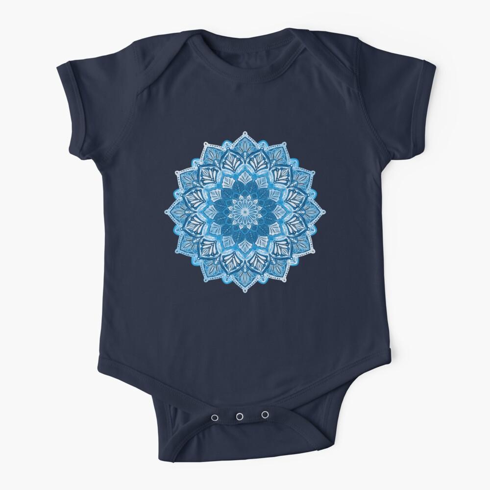 Boho Mandala in Monochrome Blue and White Baby One-Piece
